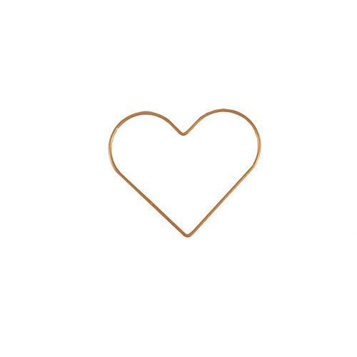 Vaessen Creative Heart-Shaped Metal Crafts, Gold, Ø 15 cm or 5.9 in Diameter, 3 mm Thick, Dream Catcher Hoop, Wreath Ring for Romantic Macrame Wall Hanging, Crochet, Boho Décor, Wedding Decorations