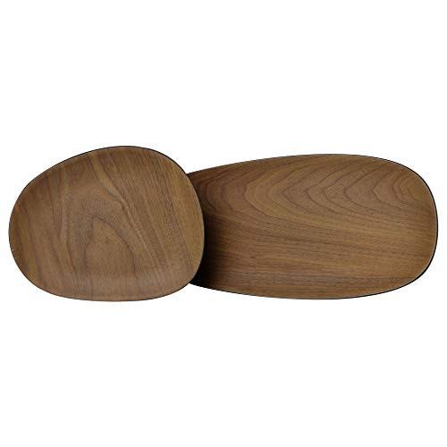 BIOZOYG Set di 2 Piatti Snack Organici Effetto Legno Antracite I Piatti da Portata bambù 16x13 cm e 30x12 cm I Stoviglie di bambù Ecologiche Set Piatti Decorativi Vassoi bambù Vassoi Decorativi