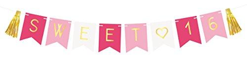 Sweet 16 Birthday Girlande – 16. Geburtstag Deko Party Geschenk Glückwunsch Set