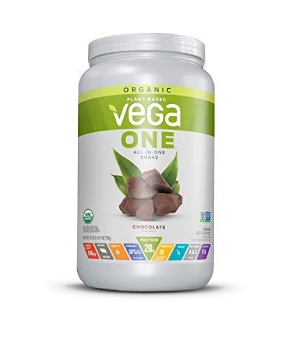Vega One Organic Meal Replacement Plant Based Protein Powder, Chocolate - Vegan, Vegetarian, Gluten Free, Dairy Free with Vitamins, Minerals, Antioxidants and Probiotics (17 Servings, 1lb 9oz)