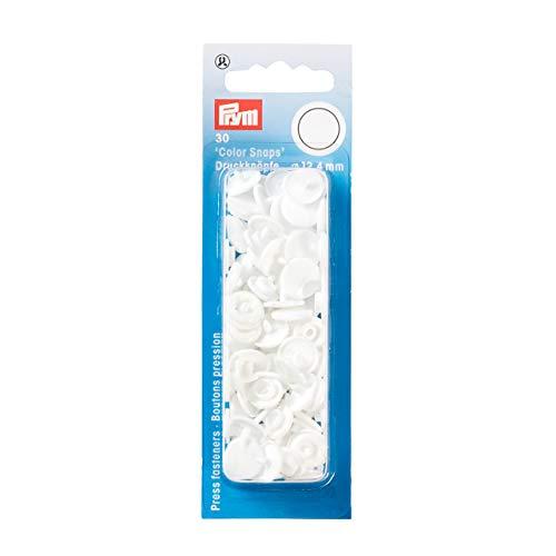 Prym 393103 Nähfrei Druckknopf Color Snaps rund 12,4 mm weiß, Kunststoff, 12.4 mm