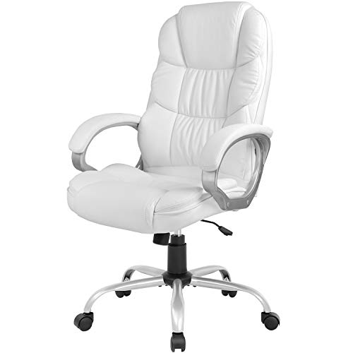 Office Chair Computer High Back Adjustable Ergonomic Desk Chair Executive PU Leather Swivel Task Chair with Armrests Lumbar Support (White)