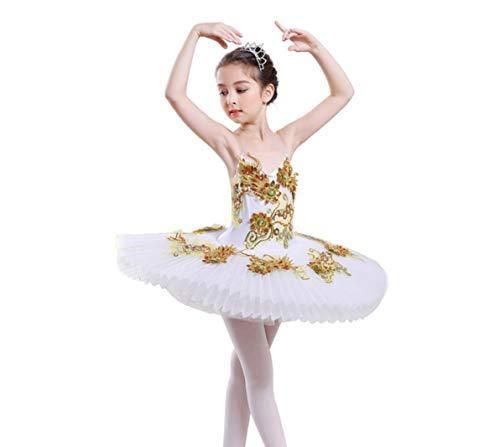 ZYLL Gilrs Ballett Tutu Kinderballett Strumpfhosen Bühne Leistungs-Wettbewerb Kostüm weiß rot,White,140CM