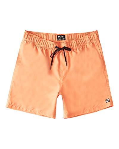 Billabong Men's Standard Elastic Waist All Day Layback Boardshort Swim Short Trunk, 16 Inch Outseam, Melon, L