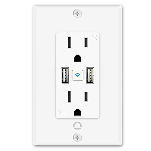 Lumary Smart Wi-Fi in-Wall Outlet 15 Amp 125 Volt Tamper Resistant Split Duplex Receptacle - 2 Plugs and 2 USB Ports, Compatible with Alexa, Google Home (No Hub Required)