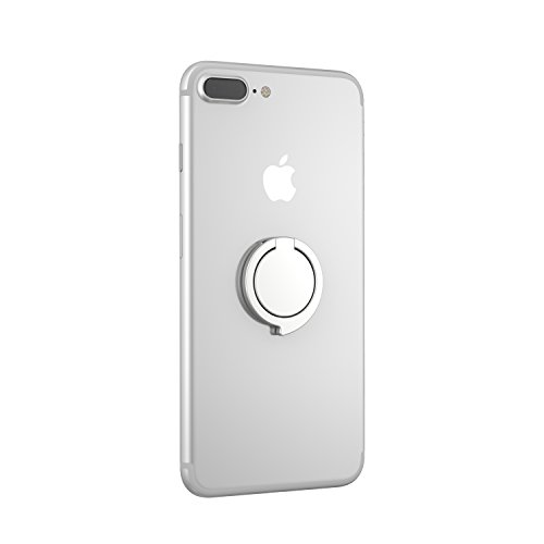 Kronya®   360° drehbarer Smartphone Fingerhalter   Case Finger Griff Halter Halterung Handy Hülle Ring Ringhalter Ständer Tablet   Kompatibel mit Apple iPhone iPad Samsung Galaxy   3 (Silber)