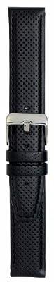 Hadley-Roma Men's MSM846RA-200 20-mm Black Genuine Oil-Tan Leather Watch Strap