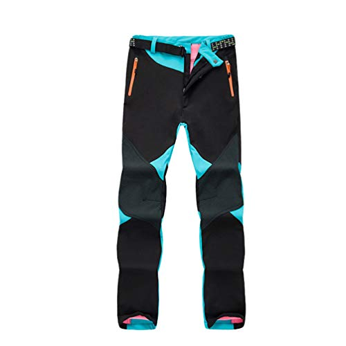LaoZan Unisex Sport Thermo Fleece Synthetisch Gefütterte Softshellhose Outdoor Wasserdicht Wanderhose Winddicht Warme Trekkinghose mit Gürtel (Himmel Blau(Frauen), Asia 2XL)