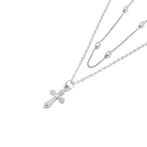 Collar con colgante simple de 2 capas, cuentas de bala de fe cristiana, collar de múltiples capas, gargantilla retro para mujeres y niñas