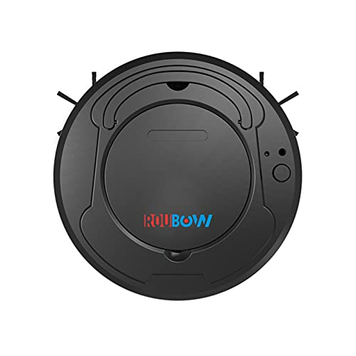 ROUBOW Basic Robot Vacuum Small, 1200mAh 1200Pa Suction Power, Lightweight Robotic Vacuum Sweeper, Adaptive Cleaning for Apartment Single Room Sweep Vacuum Mop 3-in-1, Black