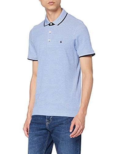 Jack & Jones Jjepaulos Polo SS Noos, Azul (Bright Cobalt Detail: Slim Fit), Large para Hombre