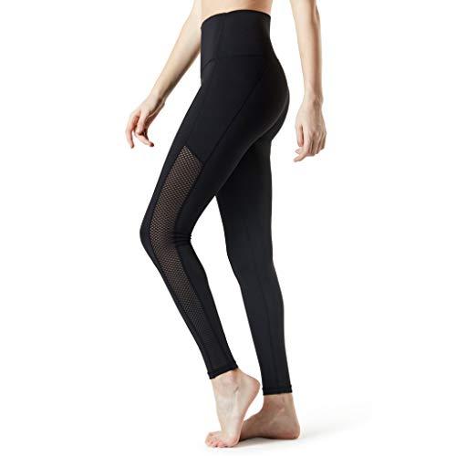 Neueste Sporthose Leggings Damen Gitter Elastische High Waist Blinkdicht Sport Leggings Tummy Control Yogahose Lange Laufhose von LEEDY