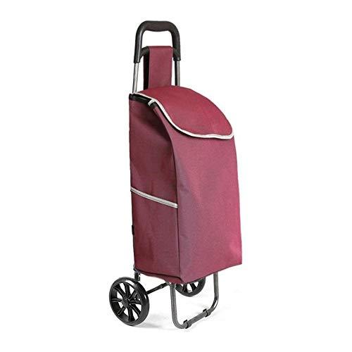WJMLS Multi-Funktions-Einkaufswagen Travel Elderly zusammenklappbare bewegliche Wagen Gepäckwagen Lever Car Trolley Aufbewahrung Hand (Color : Fuchsia)