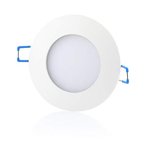 sweet-led 5er IP44 12W 850 Lumen, LED Bad Einbaustrahler, 230V ultra flach warmweiß - kaltweiß, rund Weiß-chrom, Bad Einbauspots Einbaulampen Einbauleuchten (5er Warmweiß-weißfarbig)