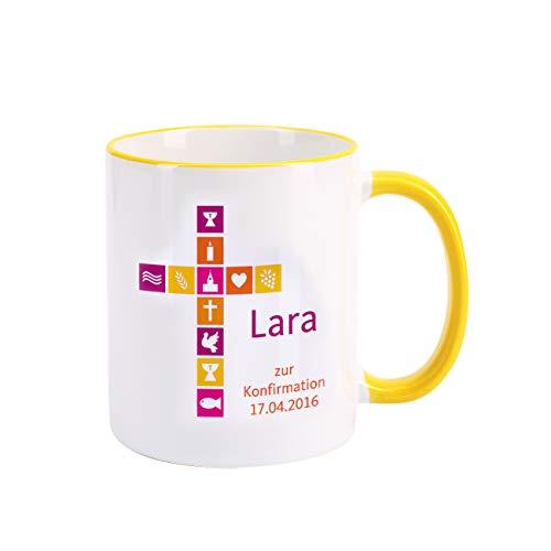 Herz & Heim® Tasse zur Kommunion/Konfirmation/Firmung mit Aufdruck des Namens und Wunschtext für Mädchen