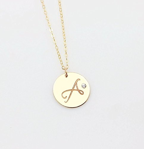 Personalized Large Circle Charm Necklace with Embedded Swarovski Diamond Crystal, Initial Disc Pendant in 14K Gold Filled or 925 Sterling Silver or 14K Rose Gold Filled