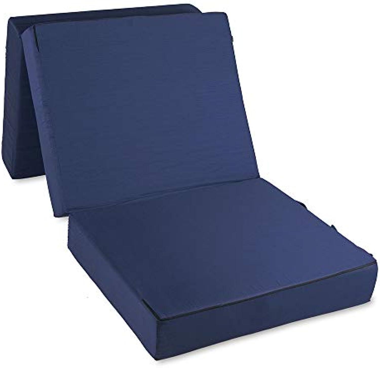 Aktivshop Gstematratze Deluxe Klappmatratze Gstebett Faltmatratze Reisebettmatratze 4 cm Visco, blau, 195 x 75 x 15 cm