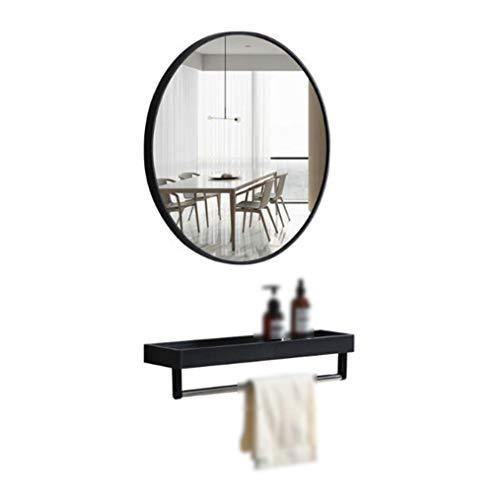 Muurspiegel, Bathroom Mirror, ronde bathroom spiegel met wandrek, zwarte lijst, metaal, grote spiegel voor make-up, E12026 40cm