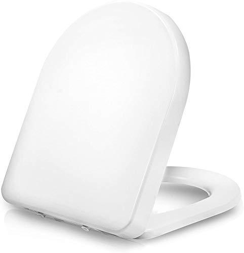 Dombach® Senzano Premium Toilettendeckel weiß D-Form - antibakterieller WC-Sitz mit Absenkautomatik - abnehmbar ergonomisch aus Duroplast und rostfreiem Edelstahl Toilettensitz Klodeckel Klobrille