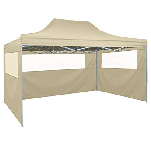 Cikonielf Pop Up Party Tent 4.5 x 3M UV and Water Resistant, Garden Pavilion Tent Elegant Garden Tent for Garden, Cream White