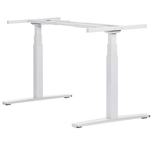boho office® Basic Line - elektrisch stufenlos höhenverstellbarer Schreibtisch in Weiß mit Memory-Funktion sowie einstellbaren Kollisionsschutz und Soft-Start/Stop