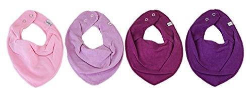 Pippi * 4er Set Baby Dreieckstuch Halstuch Lätzchen 4 Stück * verschiedene Farbkombinationen (4er Lila Töne)