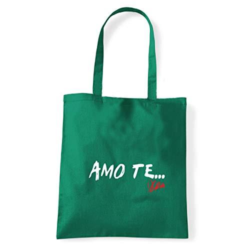 Art T-shirt, Shoulder Bag I Love You Vasco, Shopper, Sea - Green - One size