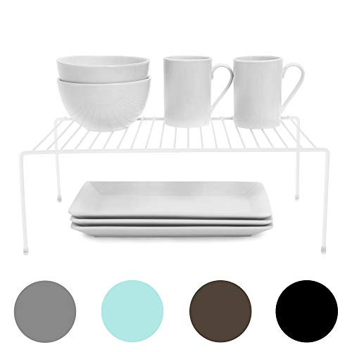 Smart Design Cabinet Storage Shelf Rack - Large (8.5 x 16 Inch) - Steel Metal Wire - Cupboard, Plate, Dish, Counter & Pantry Organizer Organization - Kitchen [White]