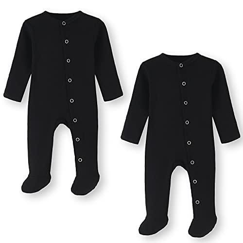 BINIDUCKLING Pijama para bebé con pie – Pijama unisex de algodón con manoplas – manga larga Baby Snap-Up peler para bebés de 0 a 12 meses, paquete de 2 unidades, S1-black & 2-pack, 0-3 Meses
