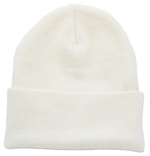 Top Level Beanie Men Women - Unisex Cuffed Plain Skull Knit Hat Cap, White