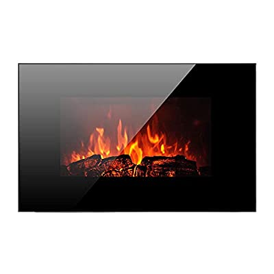 """Homeleader 35"""" Electric Fireplace Heater, with Remote Control, Wall Mounted and Freestanding Fireplace, Space Heater, 1500W, Black"""
