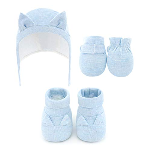 Fascigirl Baby Shoes Cute Warm Soft Sole Baby Booties with Baby Hat No Scratch Mittens