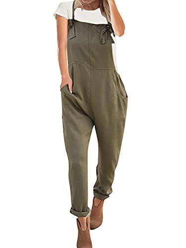 VONDA Latzhose Damen Jumpsuit Retro Lange Overall Größe Jumpsuits Baggy Sommerhose A-Armeegrün L
