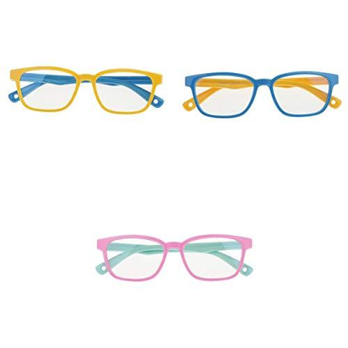 Harilla 3 Piezas Elegantes Gafas de Ojo Rectangulares de TV Digital Anti UV para Niño Niña