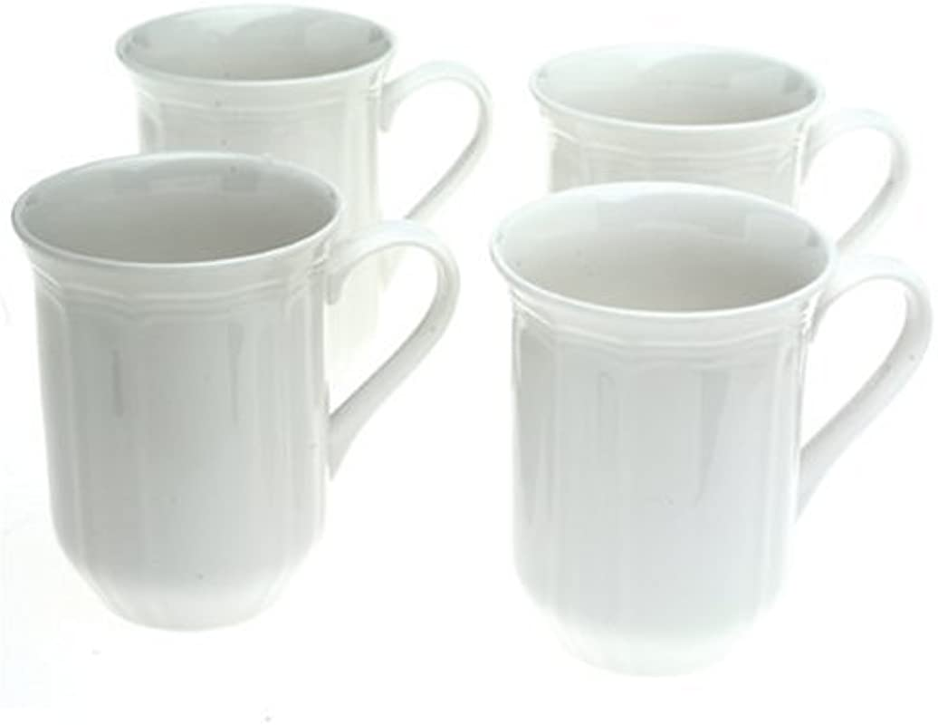 Mikasa Antique White Coffee Mugs Set Of 4