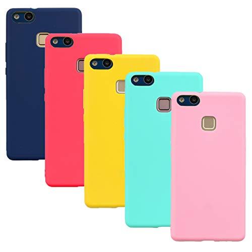 HereMore 5 x Funda para Huawei P10 Lite, Carcasa Protectora Suave Mate en Silicona Gel TPU Ultra Delgado Antigolpes Cubierta de Protección [Rojo,Azul Oscuro,Rosa Oscuro,Verde,Amarillo]