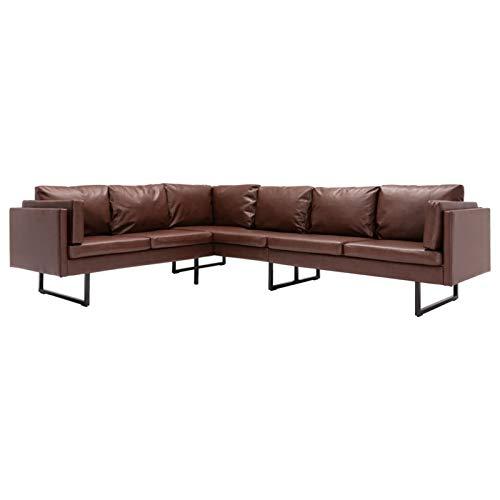 Tidyard Sofás de salón Sofá de Esquina de Cuero sintético marrón