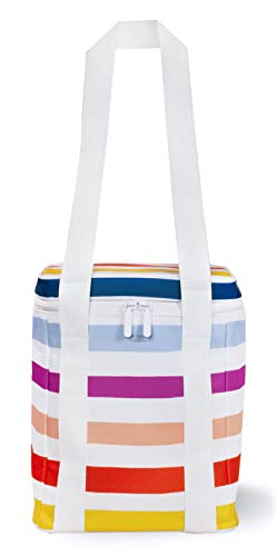 Kate Spade New York Large Capacity Insulated Cooler Bag, Soft Sided Portable Tote Holds 4 Bottles of Wine, Candy Stripe