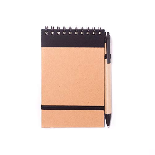 Projects - Taccuino 'Basic', formato tascabile, carta riciclata da 80 g/mq, 70 pagine, copertina rigida in stile ecologico ed elastico, penna a sfera e raccoglitore ad anelli, versatile Nero
