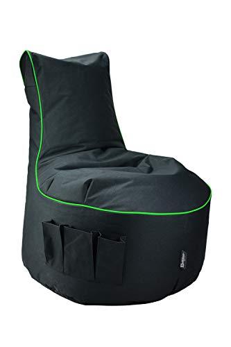 Maverick Gaming Sitzsack Schwarz mit Keder Farben wählbar Beanbag mit 3 Seitentasche & Reißverschluss zum nachfüllen Beste Sitzsäcke für Playstation PS4 XBOX360 XboxOne Nintendo (Neongrün)