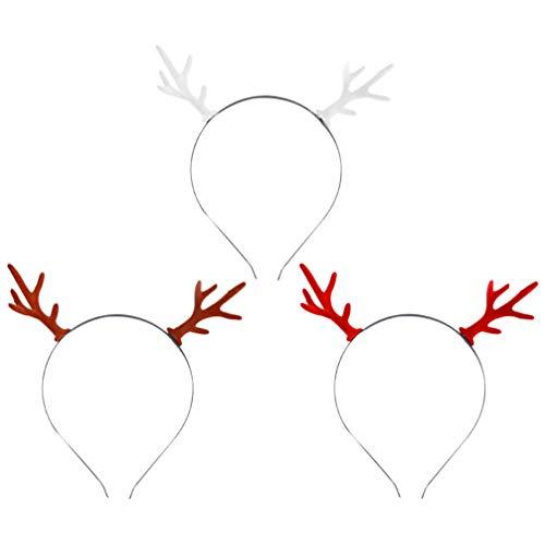 ABOOFAN 3Pcs Cuerno Diadema Navidad Ilumina Resplandor en La Oscuridad Reno Cuernos Pelo Aro Tocado Sombrero Navidad Cosplay Disfraz para Mujeres Niñas