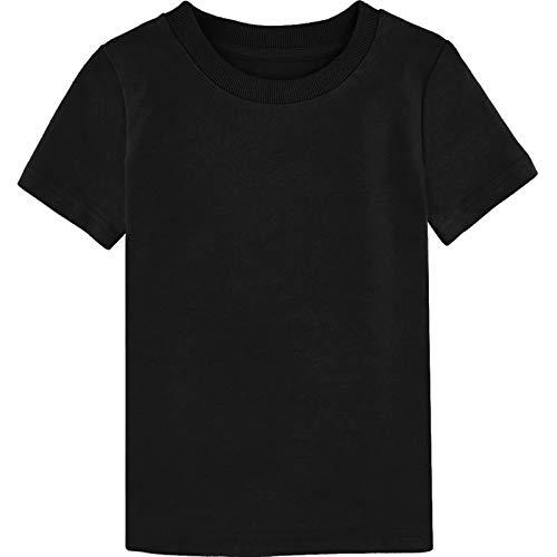 MOMBEBE COSLAND Camisetas Niños Corta Algodón T-Shirt, 98, Negro