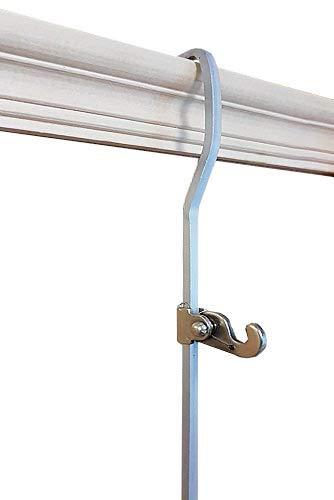 2 ganchos cayados de acero liso de moldura para varilla, con 2 ganchos para colgar espejos o imágenes de hasta 50 kg, 1.2 Meter (4 Feet)