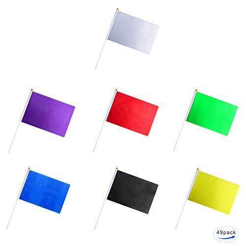 GentleGirl.USA 49er Pack farbige Flaggen, reines solides blanko, klein, weiß, schwarz, rot, gelb, grün, blau, lila, Banner-Stick, Party-Dekoration, Paradezubehör, Schulsportclub, Internationale Feste
