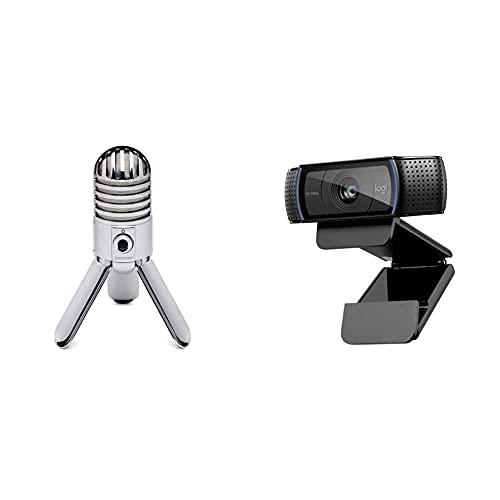 Samson Meteor Mic Microfono A Condensatore Cardioide Usb & Logitech C920 Hd Pro Webcam, Videochiamata Full Hd 1080P/30Fps, Audio Stereo Chiaro, Correzione Luce Hd, Funziona Con Skype, Zoom