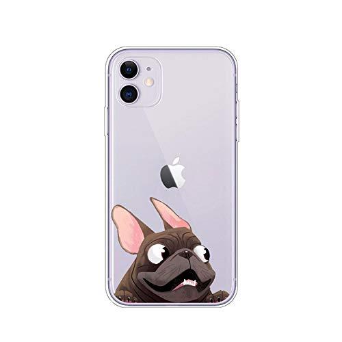 Cover posteriore in TPU per iPhone 11 Pro X XR XS MAX 8 7 Pug Dog Bulldog francese Custodia morbida in silicone per iPhone 8 7 6S 6 S Plus - A3050-per iPhone 11