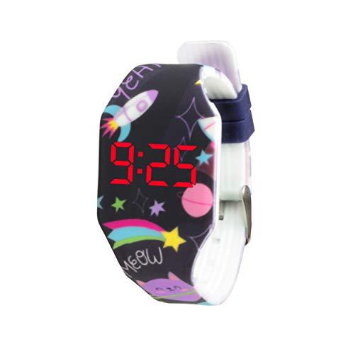 KIDDUS Reloj LED Digital para niña o niño. Pulsera de Silicona Suave para niños y Adultos. Batería Japonesa reemplazable. Fácil de Leer y Aprender Las Horas (2 LED, 09 Space Cats)