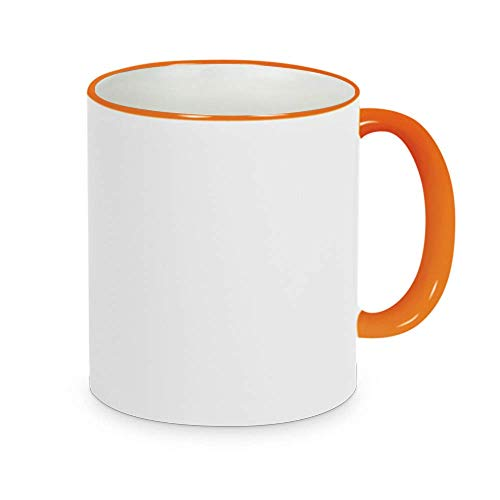 Fototasse selbst gestalten ✓ Hochwertige Keramik-Tasse mit eigenem Spruch, Namen & Bild ✓ Namenstasse, Büroasse, Kaffee-Becher bedrucken lassen – Bedruckte Tasse mit Text, Foto & Sprüchen als Geschenk-Idee (2 orange (Rand-Henkel))