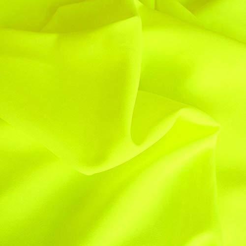 TOLKO Modestoff | Dekostoff universal Stoff zum Nähen und Dekorieren | Blickdicht, knitterarm | Meterware (Neon-Gelb)
