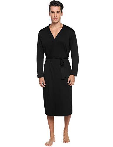 iClosam Herren Bademantel Baumwolle Morgenmantel Langarm Nachthemd mit Gürtel Saunamantel Nightwear mit Taschen
